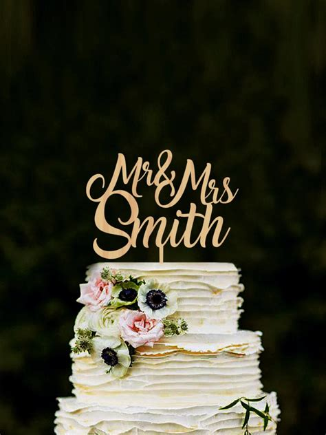 Custom Mr And Mrs Cake Toppers For Wedding Name Cake Topper