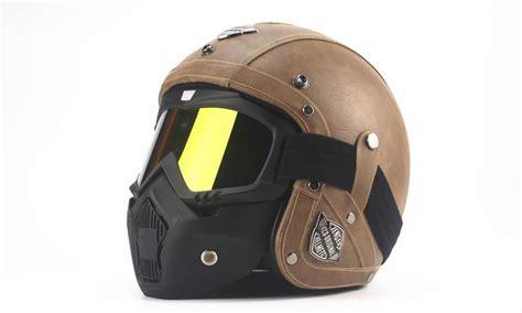 Tkosm Adult Leather Harley Helmets 3/4 Motorcycle Helmet