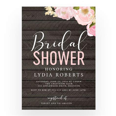 Free Editable Bridal Shower Invitation Template Rustic