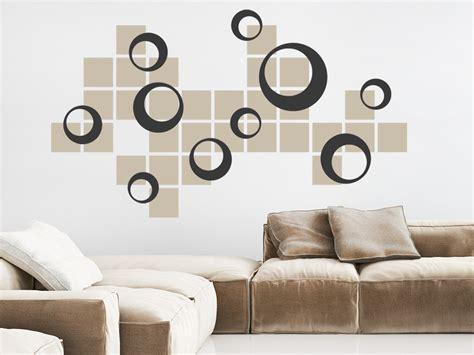 Wandgestaltung Kinderzimmer Kreise by Wandtattoo Retro Kreise Mit Quadraten Wandtattoo De