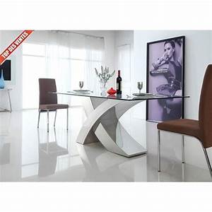 table a manger en verre design xena la table achat With table en verre design salle a manger