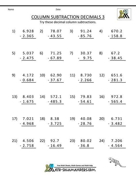 grade math practice subtracing decimals