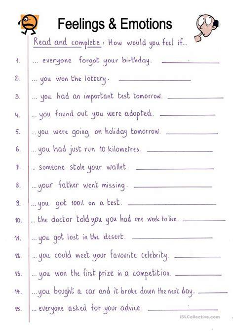 read  complete feelings worksheet  esl