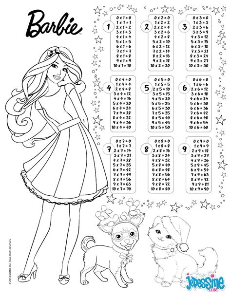 multiplication table barbie coloring pages hellokidscom