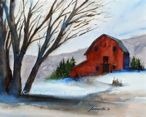 Winter Watercolor Barn Paintings