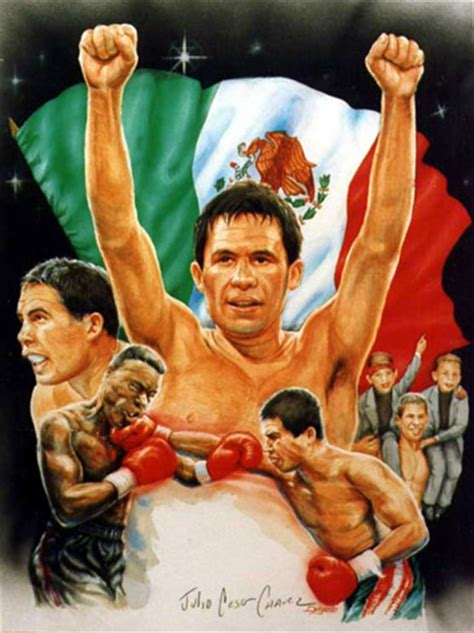 autographed julio chavez mexican boxing legend art print