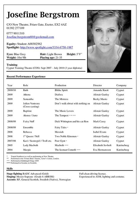 Theatrical Resume Template by 7 Best Child Actor R 233 Sum 233 Images On Acting
