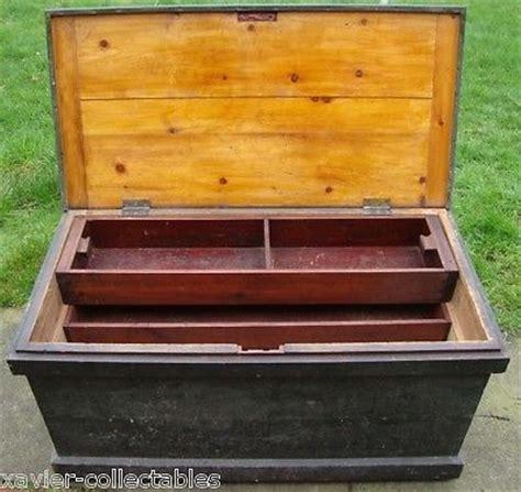 antique wooden carpenters tool box fold  writing desk