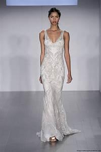 lazaro fall 2015 sheath beaded wedding dress with a v With v neck sheath wedding dress