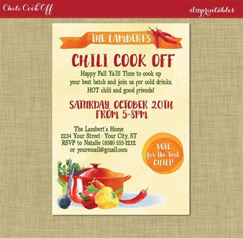 cook with us free template chili cookoff invitation printable diy chili voting ballot