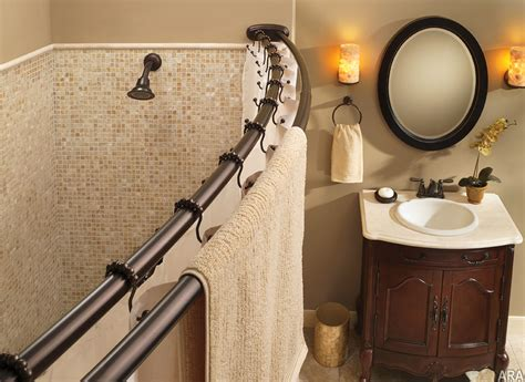 small shower stall curved shower curtain rod useful