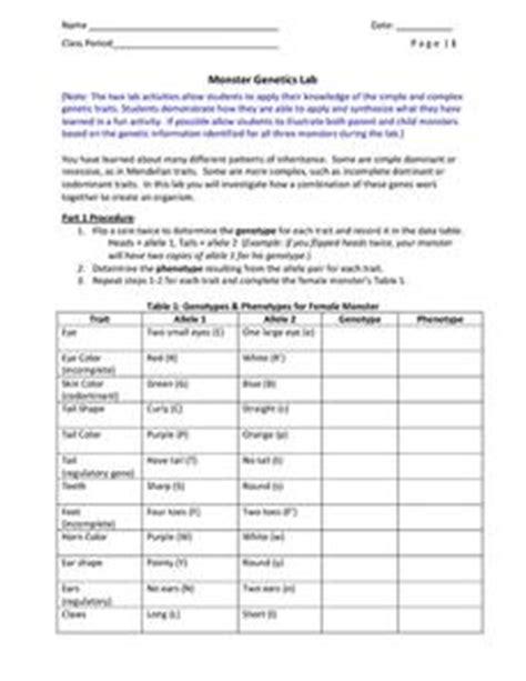 Monster Genetics Lab 6th  10th Grade Worksheet Lesson