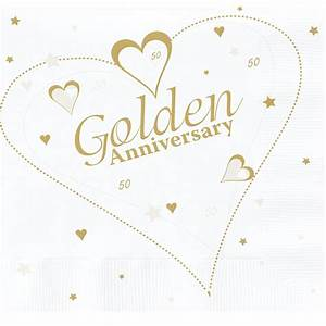 50th Golden Wedding Anniversary Lunch Napkins 16 Pack