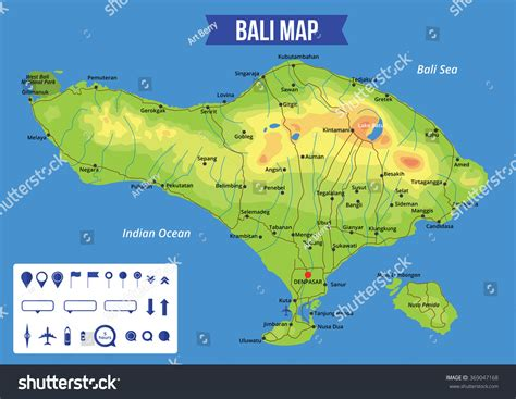 vector color map bali capital denpasar stock vector
