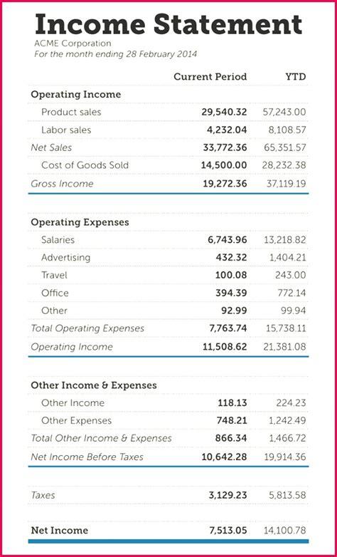 income statement format excel  fabtemplatez