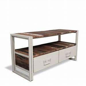 Meuble Tv Industriel : meuble tv design industriel couleur cr me ~ Preciouscoupons.com Idées de Décoration