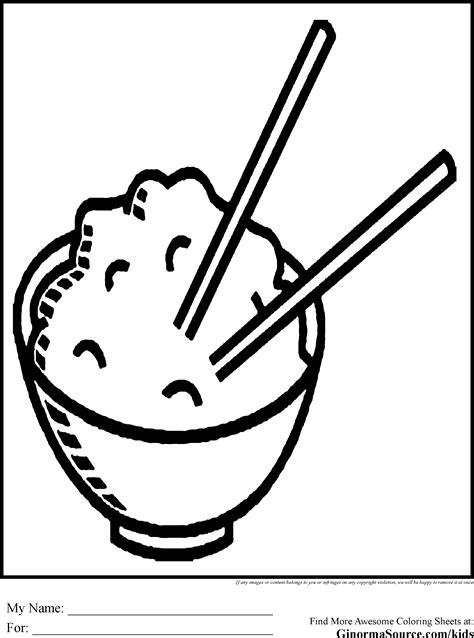 chopsticks coloring pages rice bowl ginormasource kids
