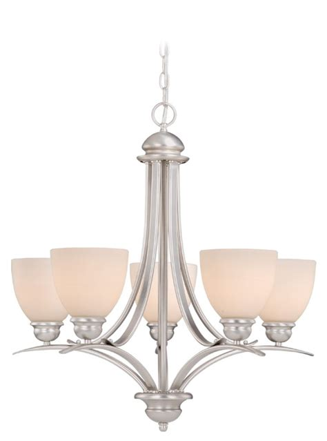 vaxcel lighting al chu005bn avalon 5 light chandelier in brushed nickel with frosted opal glass