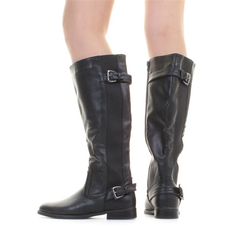 flat boots womens wide calf black riding stretch leather