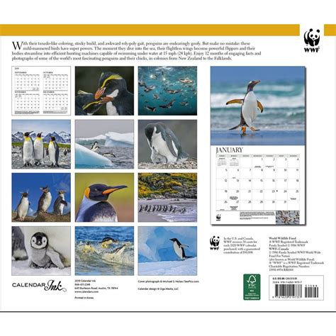 penguins wwf wall calendar