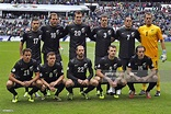 New Zealand national football team players line up before ...