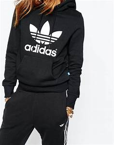Adidas Originals Pull Over Hoodie With Trefoil Logo in Black | Lyst