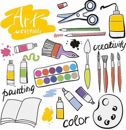 Materials Vector Illustration Tools Hand Icons Artist