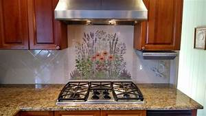 quotflowering herb gardenquot decorative kitchen backsplash tile With best brand of paint for kitchen cabinets with hanging ceramic wall art