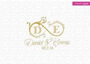 infinity wedding monogram wedding logo wedding crest custom With create monogram online