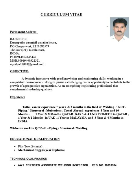 Qa Qc Piping Inspector Resume by Rajesh Resume For Qa Qc Piping And Welding Inspector Welding