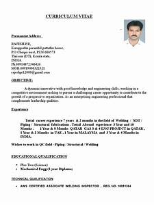 Welding Inspector Cv Sample Rajesh Resume For Qa Qc Piping And Welding Inspector