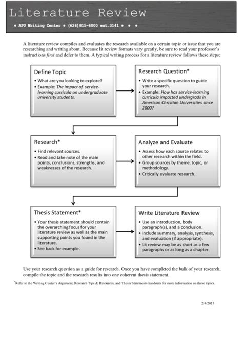 literature review outline template printable