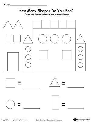 recognize and count the shapes in the castle novusvia preschool math preschool worksheets