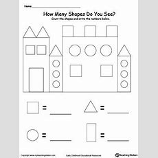 Recognize And Count The Shapes In The Castle  Novusvia  Preschool Math, Preschool Worksheets