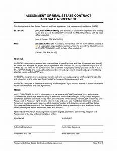 Real Estate Assignment Contract Real Estate Purchase Contract