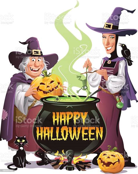 witches cooking  halloween stock illustration