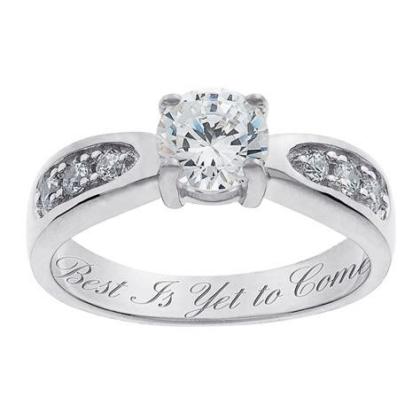 wedding ring with engraving sterling silver brilliant cz engraved wedding ring