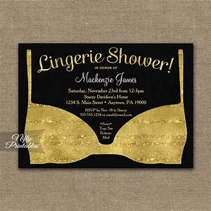 bridal shower invitation gold black lingerie printed With black and gold wedding shower invitations
