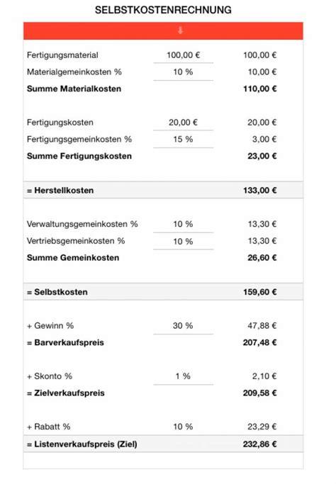 numbers vorlage selbstkostenrechnung