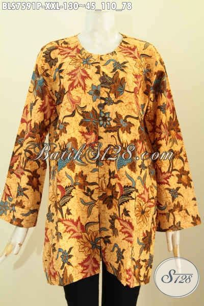 baju batik wanita kantor badan gemuk blus  krah
