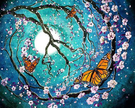 monarch butterflies in teal moonlight digital by iverson