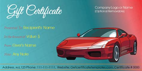 Automotive Gift Certificate Template Free by Car Deal Gift Certificate Template Get Certificate Templates