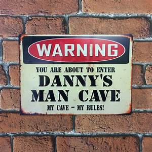 Man, Cave, Vintage, Metal, Sign, Personalised, Great, Gift, Idea