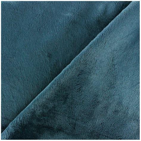 tissu velours minkee doux ras bleu p 233 trole x 10cm ma