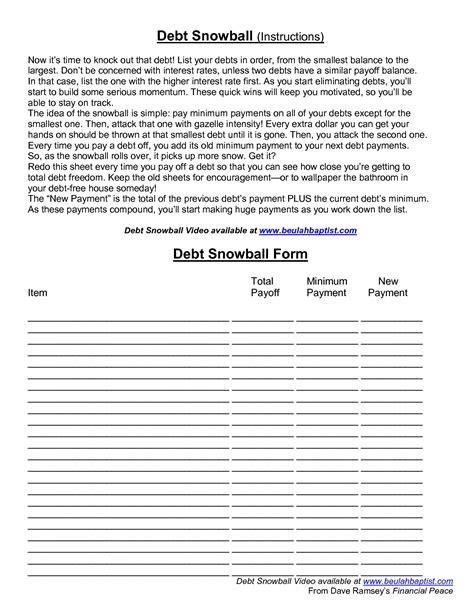 Worksheets Dave Ramsey Debt Snowball Worksheet Qualads