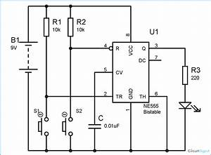 555 Timer Bistable Multivibrator Circuit Diagram
