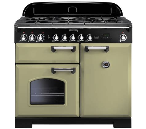 buy rangemaster classic deluxe 100 dual fuel range cooker olive green chrome free delivery