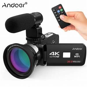 2018 New Andoer 4K Ultra HD WiFi Digital Video Camera Camcorder DV Recorder + External ...