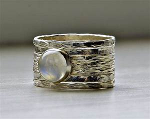 Simone unique rustic stackable moonstone wedding ring on for Unique stackable wedding rings