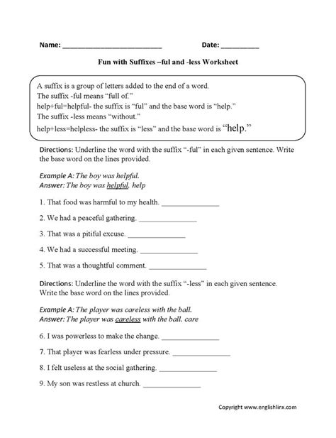 fun  suffixes ful   worksheets base words